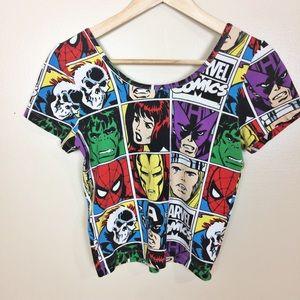 Marvel Comics Jersey Crop Top M